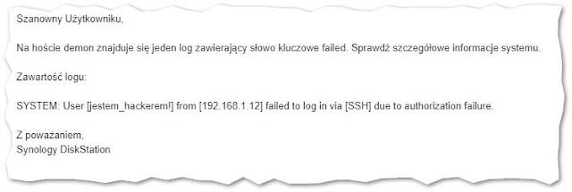 E-mail z informacją o nieudanej próbie zalogowania przez SSH