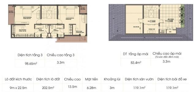 Mẫu biệt thự 2 - Tầng 3 và tầng áp mái An Phú Shop Villa
