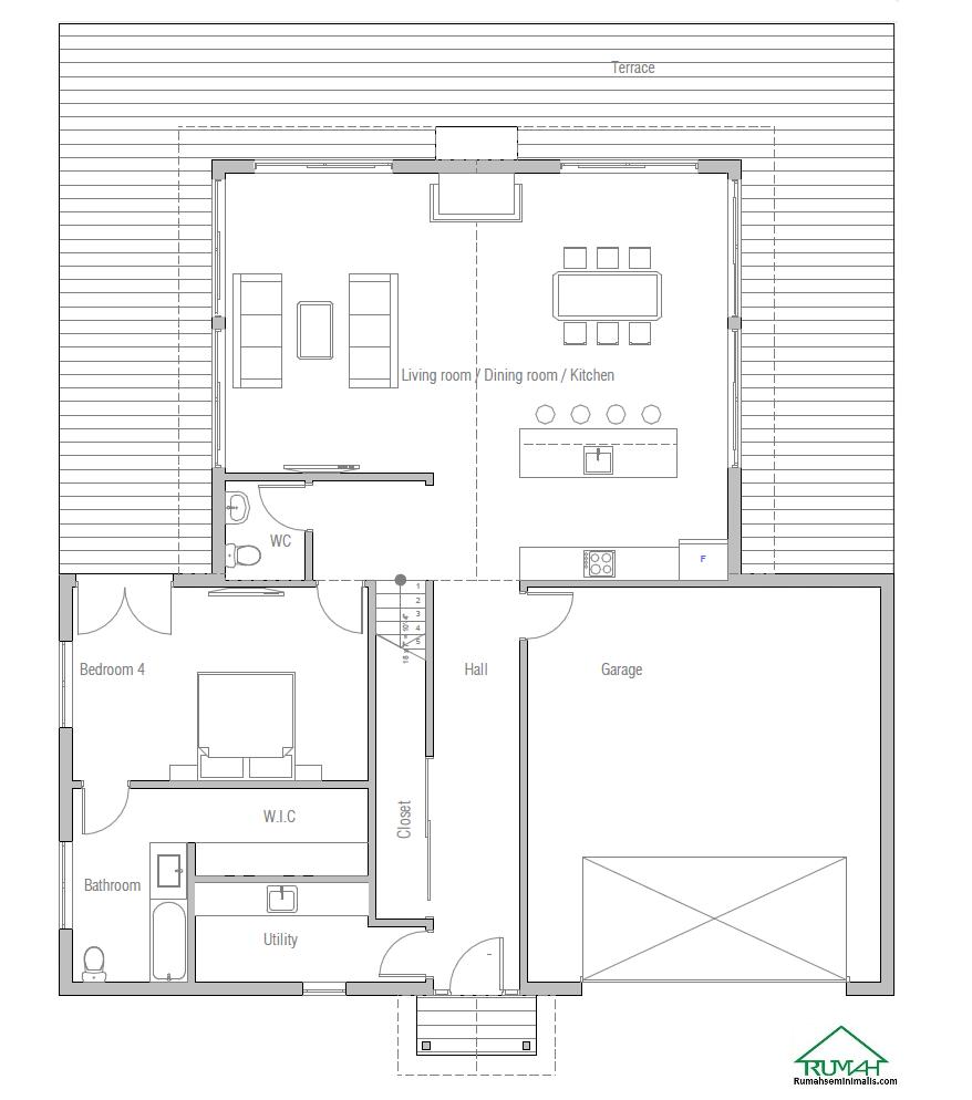 Denah Model Desain Gambar Rumah Minimalis Idaman Modern Tipe 413
