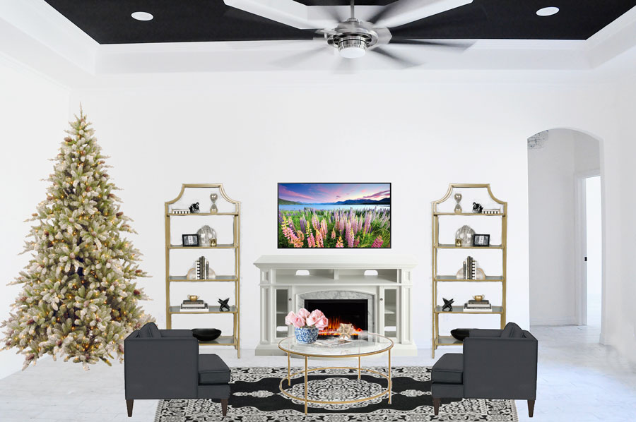 Gold, black and white living room design plan with floral accents and glass coffee table. | via monicawantsit.com