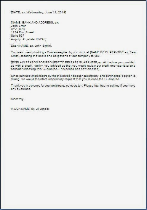 Personal Guarantee Release Letter