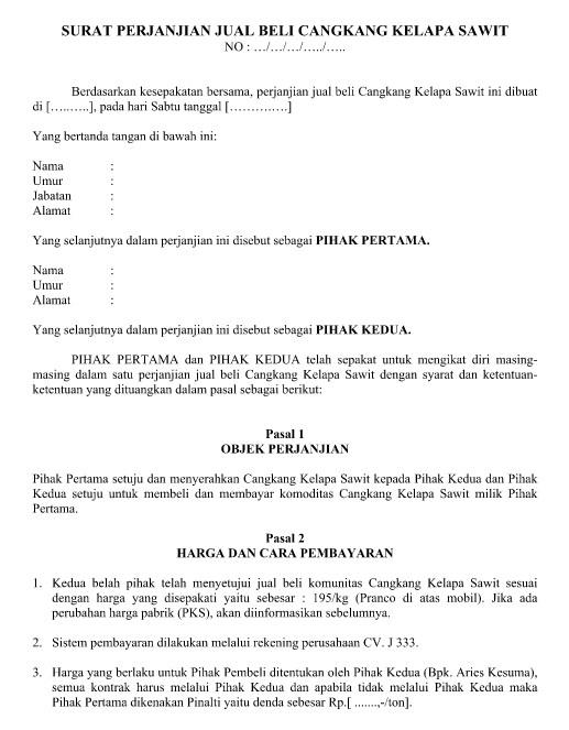 Contoh Surat Perjanjian Jual Beli Cangkang Kelapa Sawit Dalam Format Word