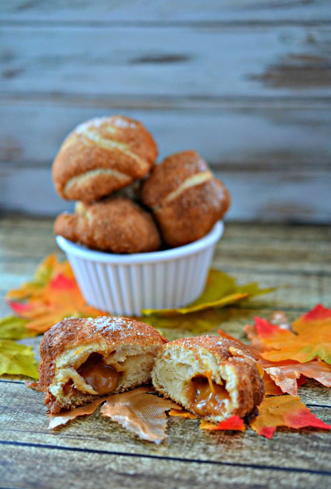 Caramel Apple Bombs.  Warm and Gooey caramel apple bombs wrapped in crescent dough and baked to warm perfection.