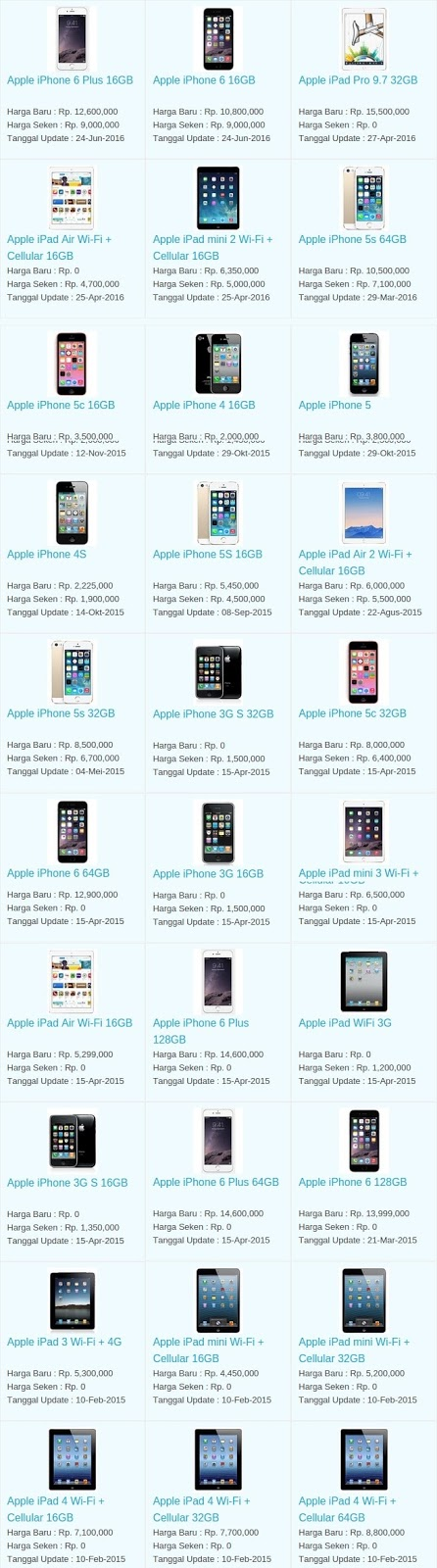 Harga Hp Terbaru Apple Agustus 2016