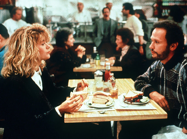image result for movie still of orgasm scene When Harry Met Sally Meg Ryan