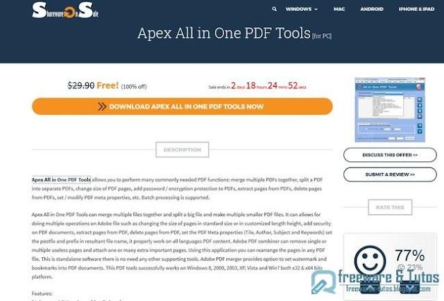 Offre promotionnelle : Apex All in One PDF Tools gratuit (3 jours) !