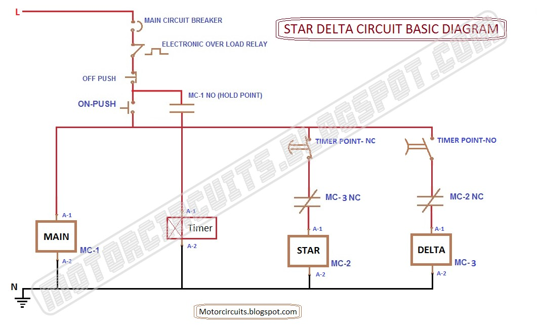 Star Delta Starter Control Wiring Diagram With Timer : Motor circuits control circuit diagrams