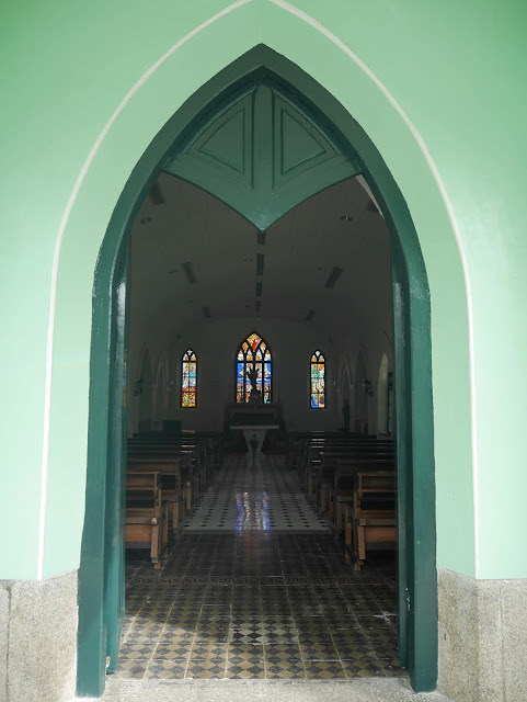 blue chapel in Macau with stained glass