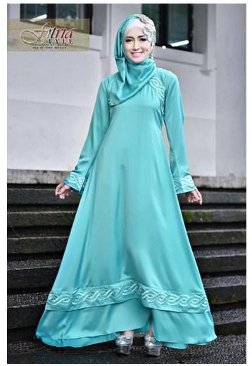 15 Model Baju Muslim Pesta Kombinasi Brokat Terbaru 2017