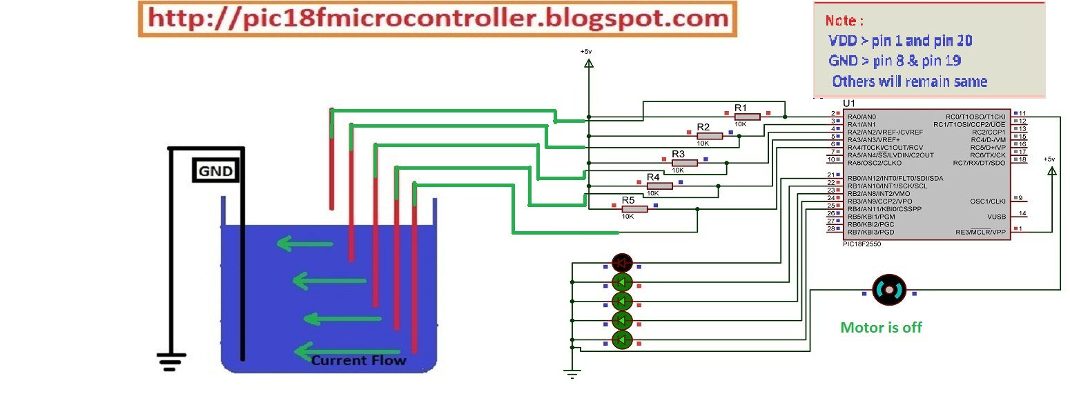 Water Level Indicator Project Using Microcontroller Learn Pic Circuit Picbasic Source Code Proteus Isis Simulation Schematic 433mhz
