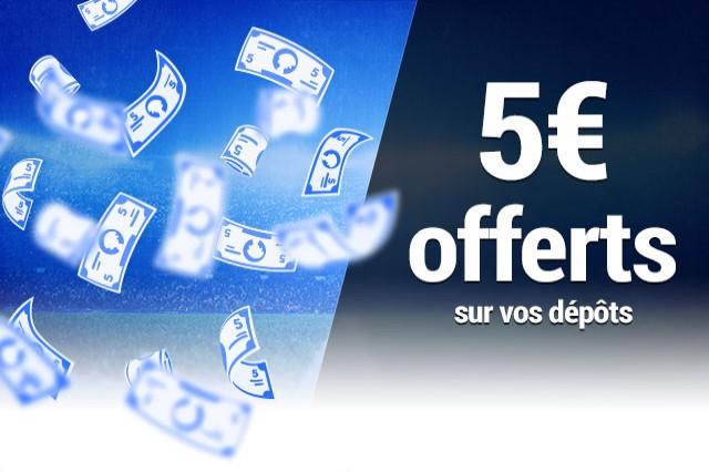 Bonus bookmaker : 5€ offerts au prochain dépôt - France Pari