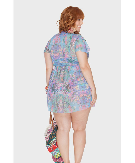 C&A Modas saída floral plus size  lilás 48