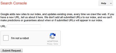 Submit URL terdapat captcha