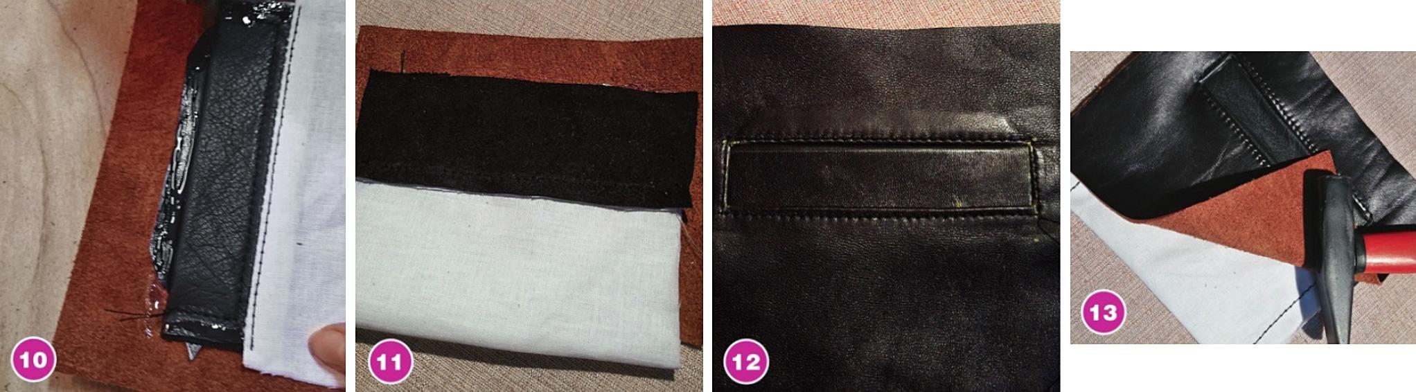 Прорезной карман с листочкой в кожаном изделии