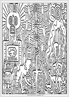 keith haring arts adults coloring pages