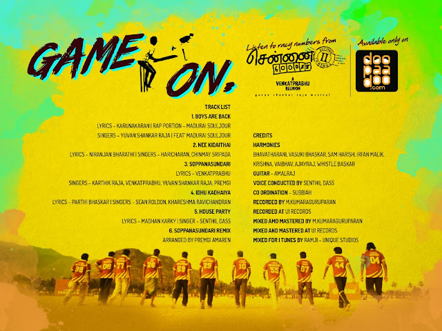 Venkat Prabhu's Chennai 600028 II: Second Innings Tamil Movie Audio Track List