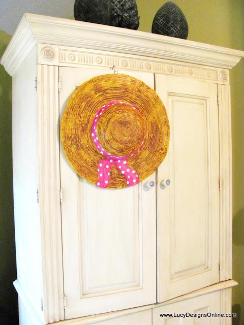 dimensional straw hat sculpture decor