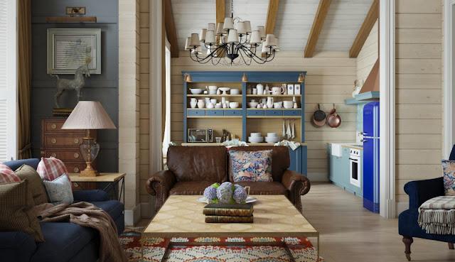 Интерьер деревянного дома из бруса в стиле английский кантри вблизи Уральских гор