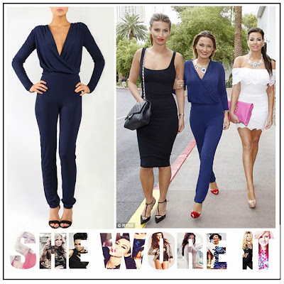 Blue, Cross Over, Deep V-Neck, Draped, Gorgeous Couture, Jersey, Jumpsuit, Long Sleeve, Navy, Sam Faiers, The Only Way Is Essex, The Only Way is Vegas, Vegas,