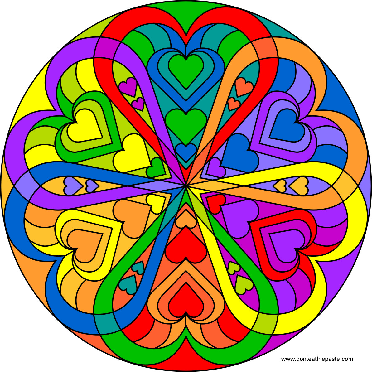 don't eat the paste heart mandala to color