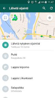 Whatsapp Paikannus