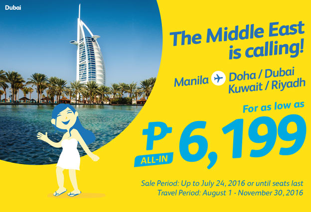 Cebu Pacific Promo Manila to Kuwait 2016