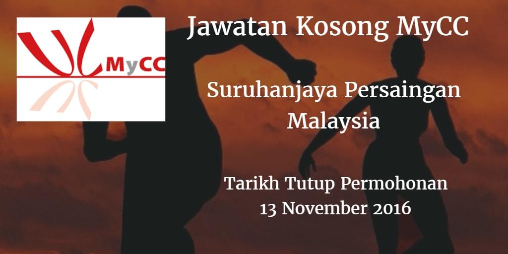 Jawatan Kosong MyCC 13 November 2016