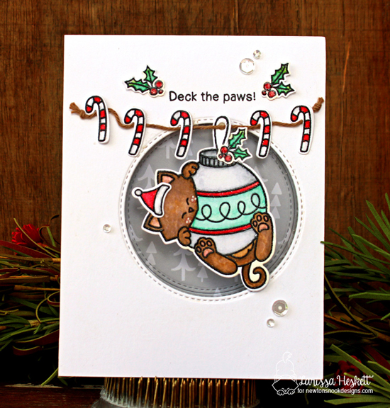 Deck the Paws | Cat and Ornament Christmas Card by Larissa Heskett | Ornamental Newton Stamp Set by Newton's Nook Designs #newtonsnook