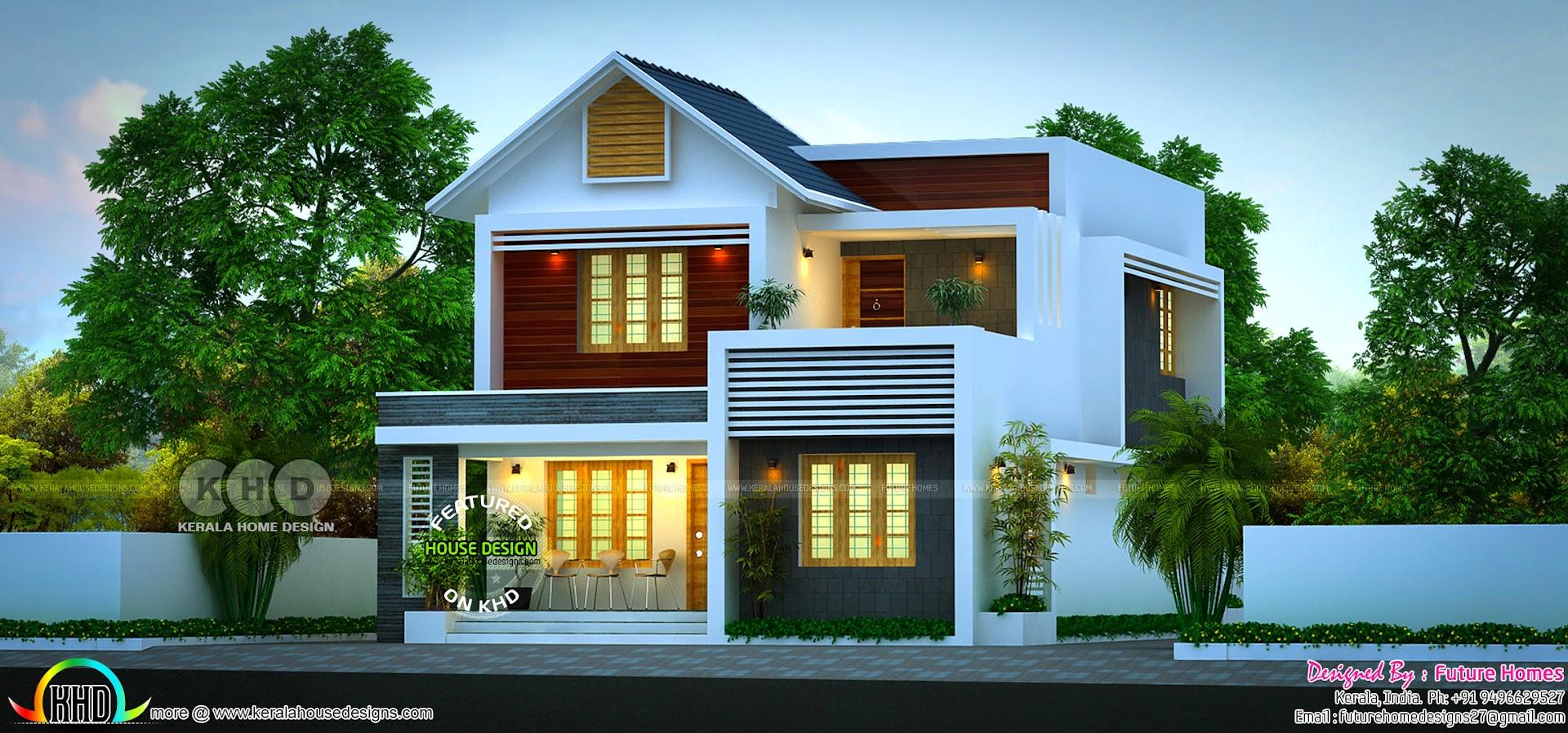 163 Sq M Beautiful Mixed Roof 4 Bhk Kerala Home Kerala