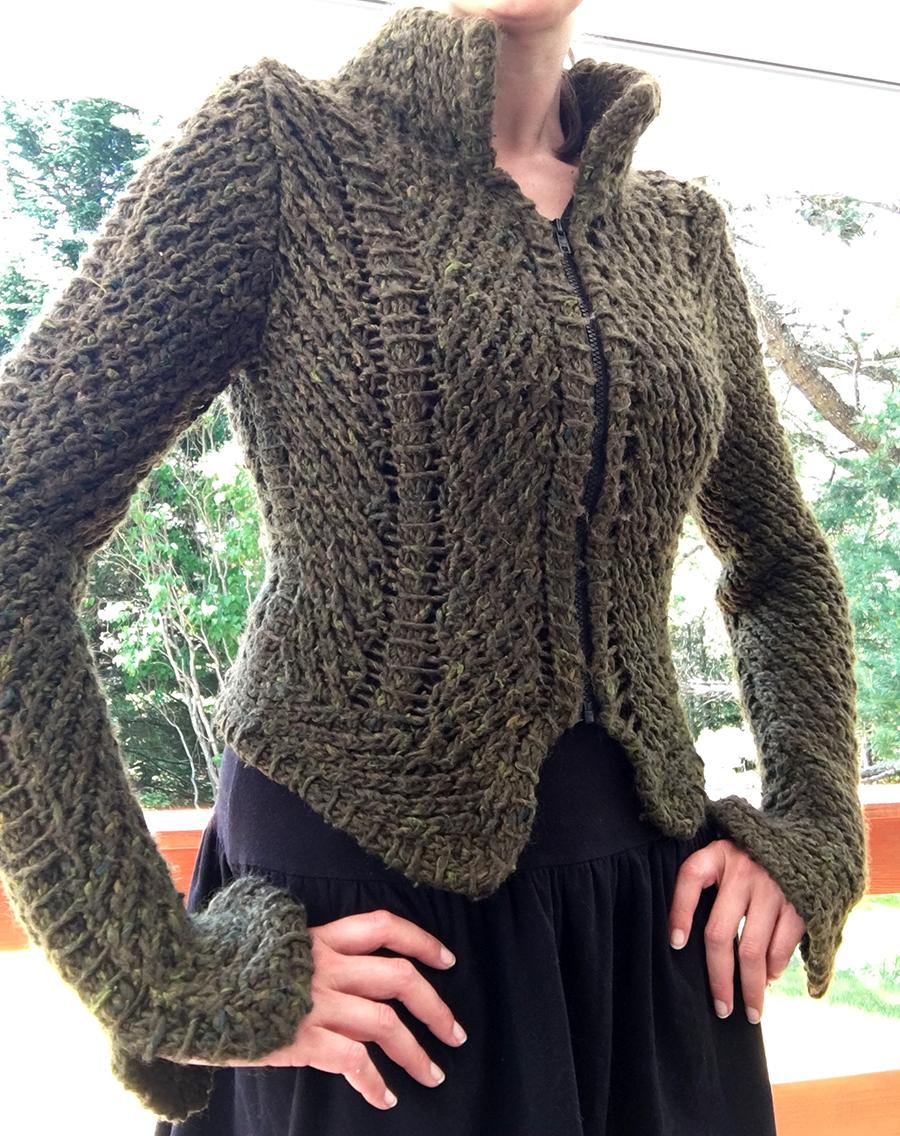 Diagonal Princess Seam Jacket by Teva Durham, blogged by Dayana Knits