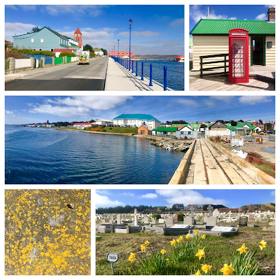 Image (clockwise from top left): Stanley main street, a working UK phone box, 