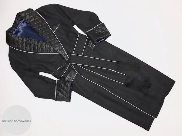mens luxury wool dressing gown extra long black woolen smoking jacket robe warm
