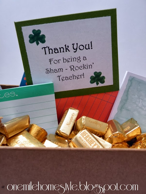 Thank you for being a sham-rockin' teacher, teacher appreciation gift - One Mile Home Style