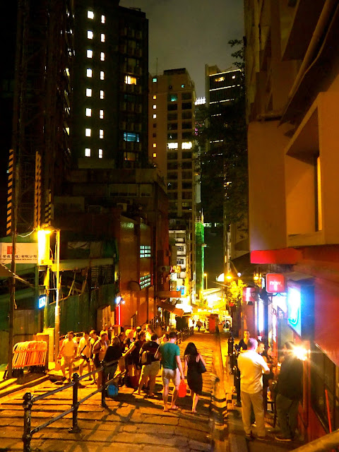 Pottinger Street at night, Central, Hong Kong