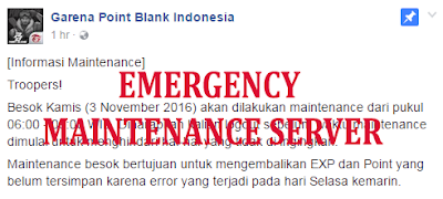 Emergency Maintenance Server PB Garena - 3 November 2016