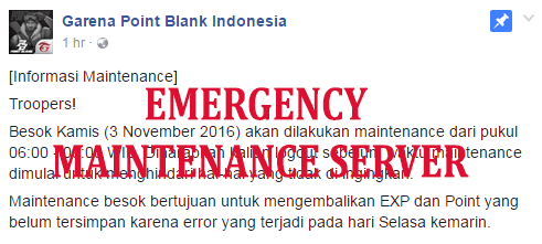 Maintenance Server PB Garena - 3 November 2016