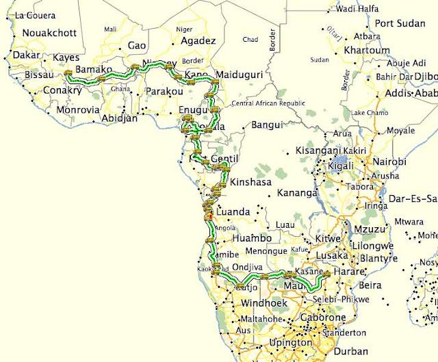 Zim2Mali Actual Route