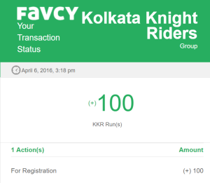 favcy kkr free 100 points runs