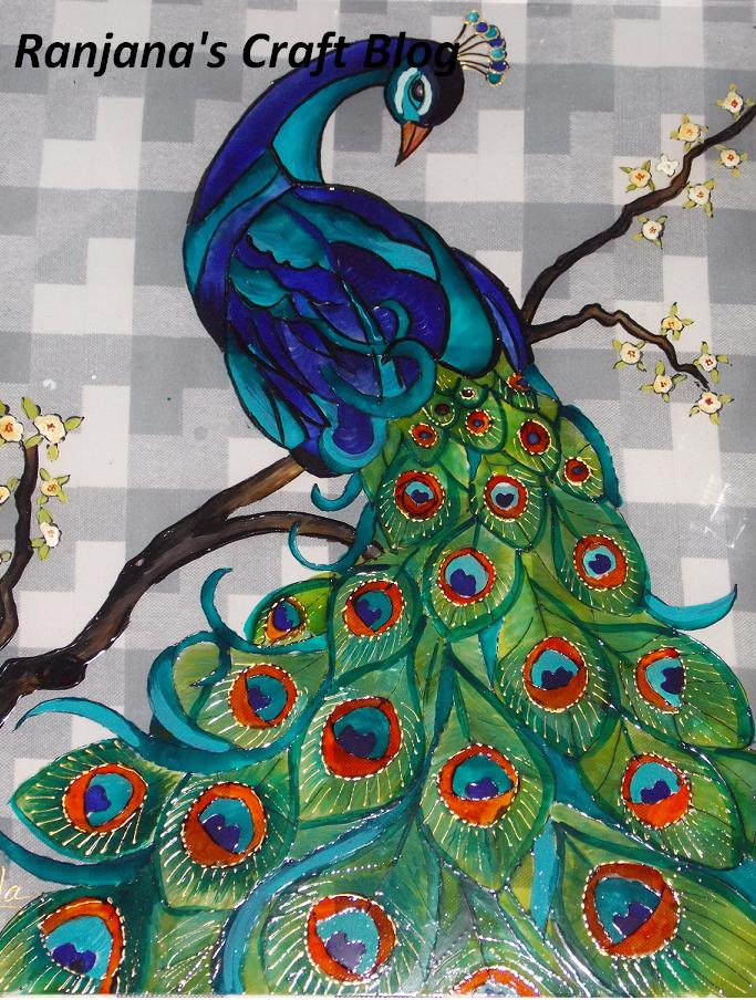 Peacock designs for glass painting - photo#28