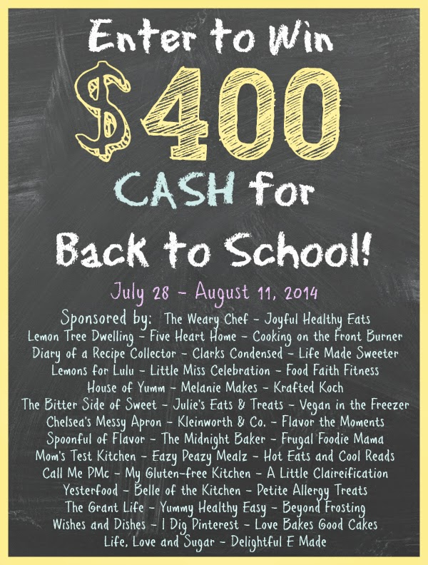 $400 Back to School Cash Giveaway via thefrugalfoodiemama.com Ends 8/11/14
