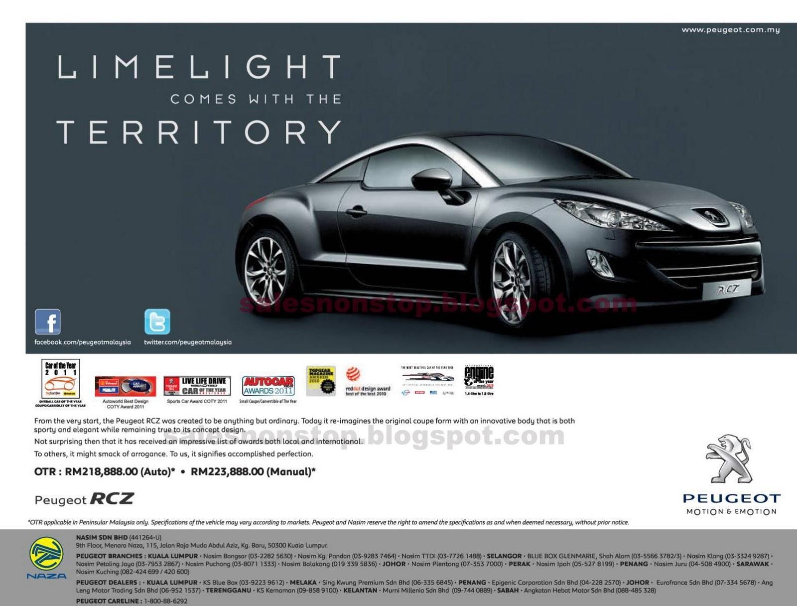 peugeot rcz - otr price in malaysia | sales nonstop