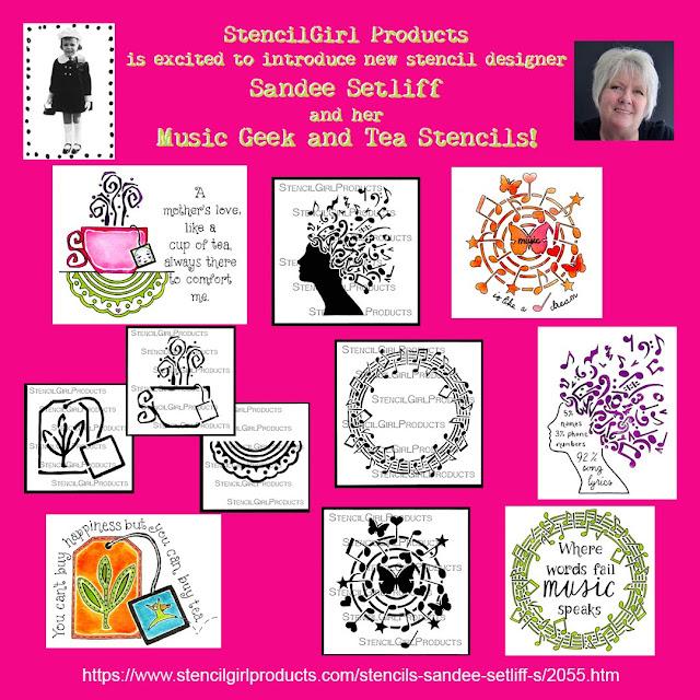 Stencil Girl Music Geek & Tea Stencil Collection by Sandee Setliff