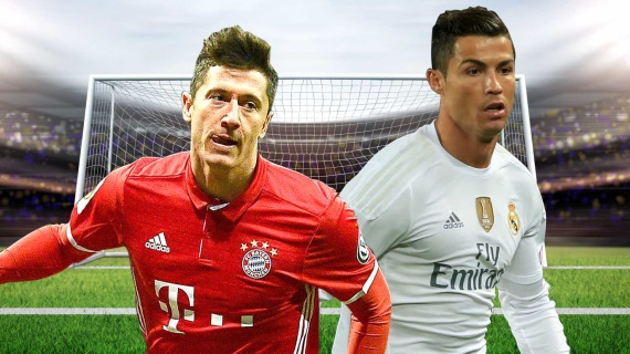 Robert Lewandowski of Bayern Munich and Cristiano Ronaldo of Real Madrid