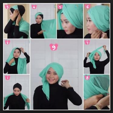 Tutorial hijab segi empat sederhana
