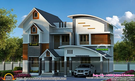 Sloping + Curved roof mix home