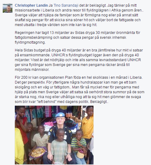 Svenskt bistand far berom
