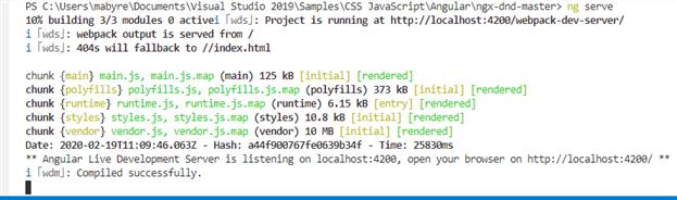 Enfin mon application Angular/CLI fonctionne sur ma plateforme Windows