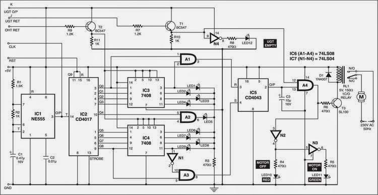 tank water level indicator cum controller circuit electronic circuit