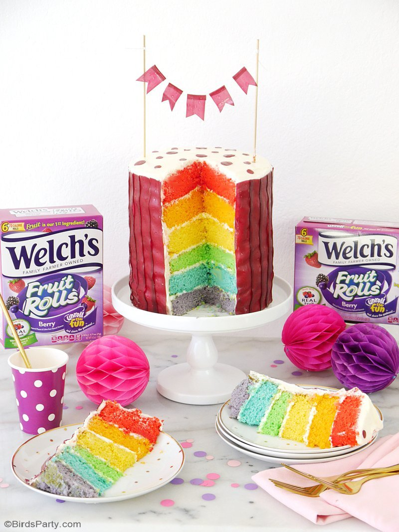 How To Make an Easy Tiered Rainbow Cake - a simple and fun recipe for baking  and decorating a rainbow birthday cake using Fruit Rolls! by BirdsParty.com @birdsparty #rainbowcake #cakedesign #cake #rainbow cakerecipe #tieredcake #rainbowcakerecipe #rainbowbirthdaycake