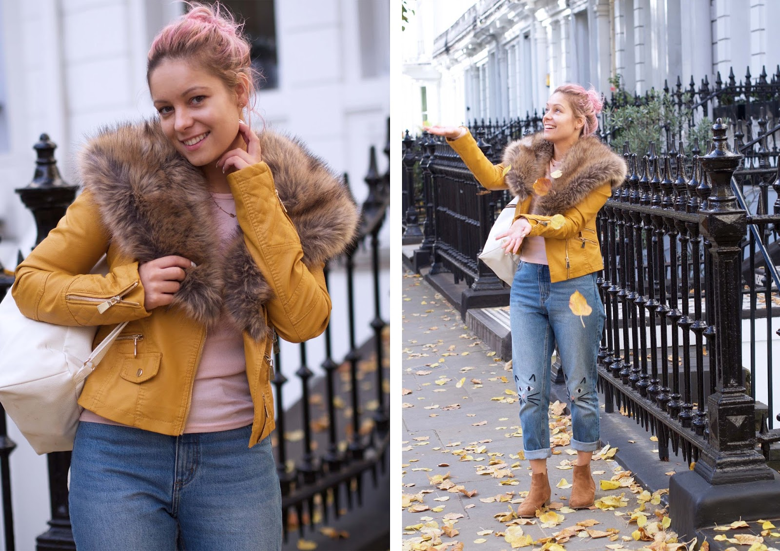 bows boutique camel jacket with fur collar monki jeans